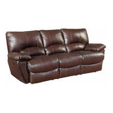 Coaster Clifford Brown Leather Double Reclining Power Sofa
