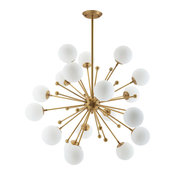 Drayton White Glass and Brass Pendant Chandelier, Natural