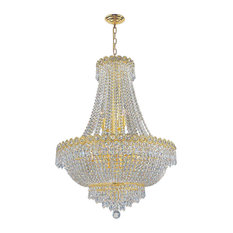 Empire 12 Bulbs 1 Tier Chandelier With Clear Crystal In Polished Gold