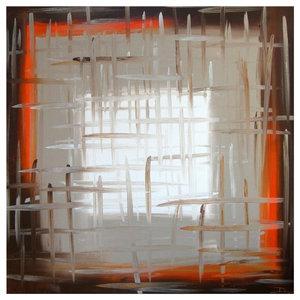 "Darco Arte ""Finestre 320"" Painting, Orange, Grey and Black, 80x80 cm"