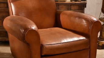 Restored French vintage leather club chairs