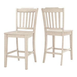 Arbor Hill Slat Back Counter Chair, Set of 2, Antique White