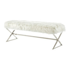 Posh Colin Fur Fabric Upholstered Bench with Stainless Steel Legs - White/Chrome