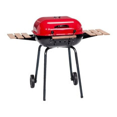 MECO Corporation - The Swinger Grill With Wood Side Tables and Cooking Grid - Outdoor Grills