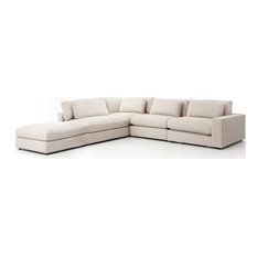 Berezi 4-Piece Right-Arm Sectional with Ottoman, Cream Beige
