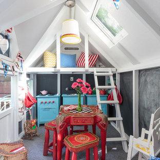 Imagen de dormitorio infantil de 4 a 10 años, asiático, con paredes blancas y moqueta