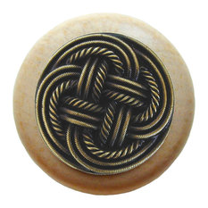 Notting Hill - Notting Hill Classic Weave Natural Wood Knob - Antique Brass - Cabinet And Drawer Kno