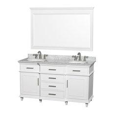 "Berkeley 60"" Double Vanity, White, Carrera Marble, 56"" Mirror"