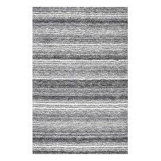 Hand-Tufted Striped Shaggy Plush Shag Rug, Gray Multi, 8'x10'