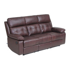 VH Furniture   Reclining Sofa Set Top Grain Leather 3 Seat Sofa With  Overstuff Armrest/