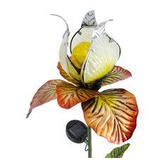 Solar Lighted Glass Yellow Iris Garden Stake
