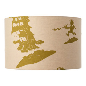 """""""The Final Frontier"""" Lampshade, Cream and Green, Pendant Fitting"""