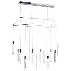 Visconte Krypto-Lampada 13-Light Bar Ceiling Pendant, Chrome