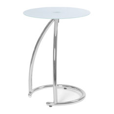 Accent Table With Chrome Metal Base, Frosted Tempered Glass