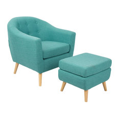LumiSource Rockwell Chair With Ottoman Teal