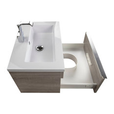 Trough Collection 24-inch Wall Mount Modern Bathroom Vanity