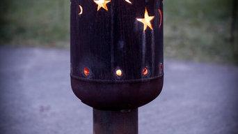 Fackel mit Eulen, Mond und Sterne