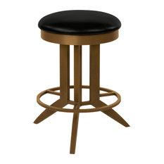 """Cambridge Backless Swivel Barstool, Black Faux Leather and Copper Bisque, 30"""""""