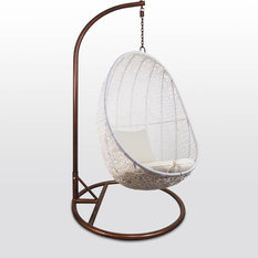 - White Cocoon Swing Chair, White Cushion - Hanging Chairs