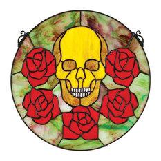Skull WitRoses Art Glass Window