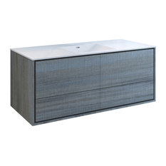 Fresca Catania 60-inch Ocean Gray Wall Hung Cabinet With Integrated Single Sink