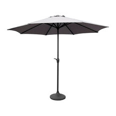 Outdoor Patio Market Umbrella With Hand Crank and Tilt, 9', Gray