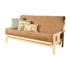 Caleb Frame Futon With Antique White Finish, Suede Peat