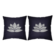 Silver Lotus Throw Pillow Covers 14x14 Blue Cotton Shams