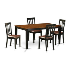5-Piece Kitchen Table Set Dining Table And 4 Wood Kitchen Chairs Black