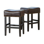 GDF Studio Chantal Leather Stools, Brown, Counter Height, Set of 2