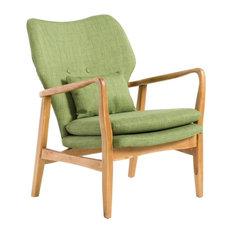 GDF Studio Kama Accent Armchair, Green/Walnut