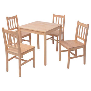 vidaXL 5-Piece Dining Set Pinewood, Brown