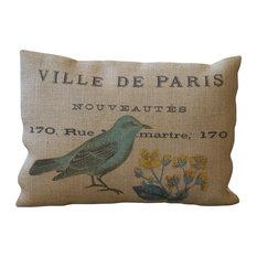 """Burlap Pillow Blue Bird, 12""""x16"""""""