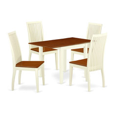 5 Pieces Dining Set Drop Down Tabletop And Chairs With Slatted Back Buttermilk