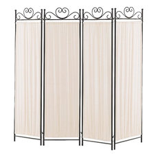 Coaster Four Panel Screen With Metal Frame & Gathered Fabric Panels