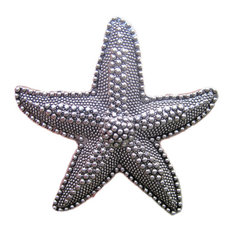 DaRosa Creations - Beach House Starfish Drawer Knobs, Silver - Cabinet and Drawer Knobs