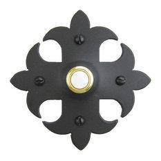 Classic Fleur De Lis Cross Iron Doorbell Cover SD1, Black, Gold
