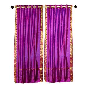 Violet Red Ring Top  Sheer Sari Curtain / Drape / Panel   - 60W x 63L - Piece