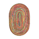 Rainbow Braided oval Rug - Large