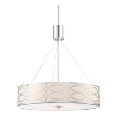 "Kira Home Sienna 18"" Metal Drum Chandelier, Glass Diffuser, Brushed Nickel, Chro"