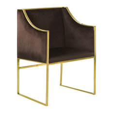 Modern Accent Chair, Polished Brass Stainless Steel Frame and Brown Velvet Seat