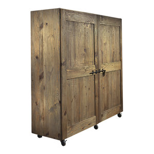 Ginestra Aged Pine Pantry Cupboard With Wheels