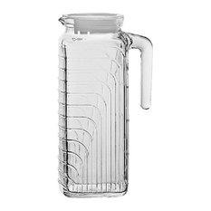 Bormioli Rocco Gelo Glass 1.2 Liter Jug Pitcher White Lid Easy-Pour Side Handle