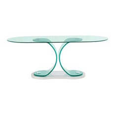 Global Furniture USA Bent Glass Oval Dining Table