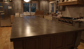 A large concrete island countertop