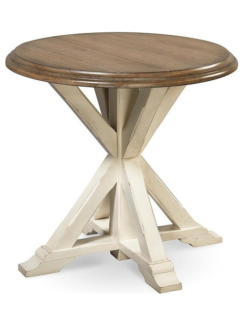 Coastal Beach White Oak Round End Table   Side Tables And End Tables