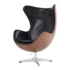 Leonce Swivel Rocker Chair Dark Walnut Frame, Dakota Black