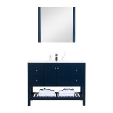 "Manhattan Freestanding Vanity Collection With Mirror, Navy, 48"", Integrated"
