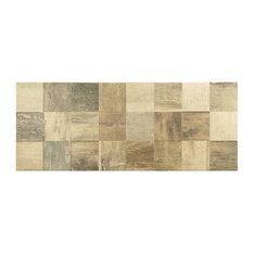 "Lucky 3D 12""x32"" Ceramic Wood Look Tile, Brown"