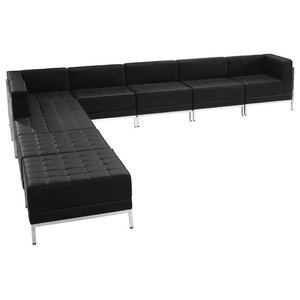 Hercules Imagination Series Black Leather Sectional Configuration, 9 Pieces